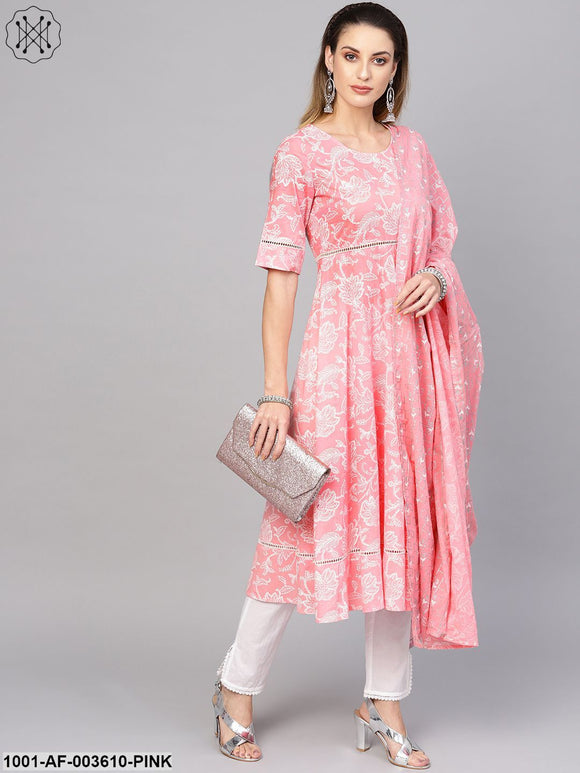Pink & White Khadi Printed Kurta Set With Lace Detailing With Dupatta