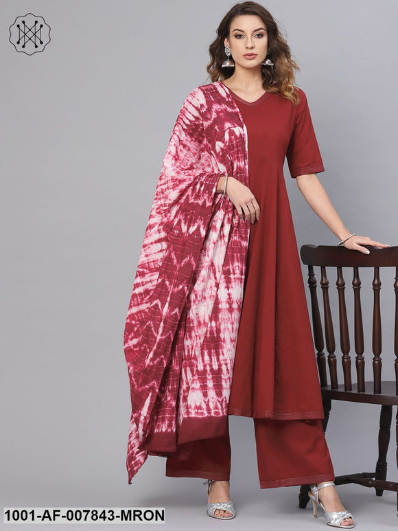 Maroon Solid Kurta Set With Tie & Dye Dupatta