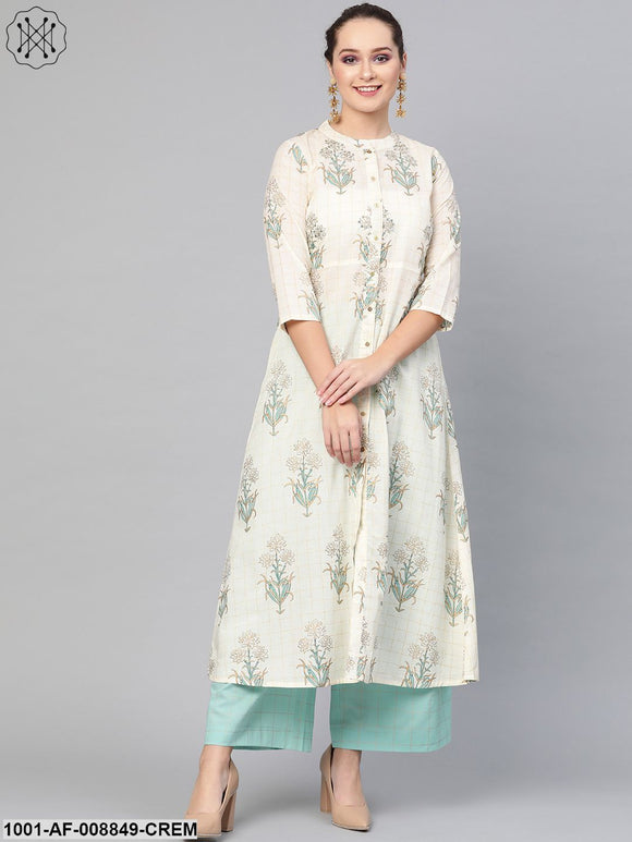 Cream And Blue A-Line Kurta Set