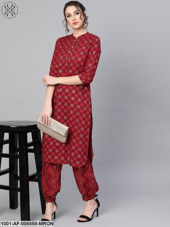 Maroon Straight Kurta With Salwar