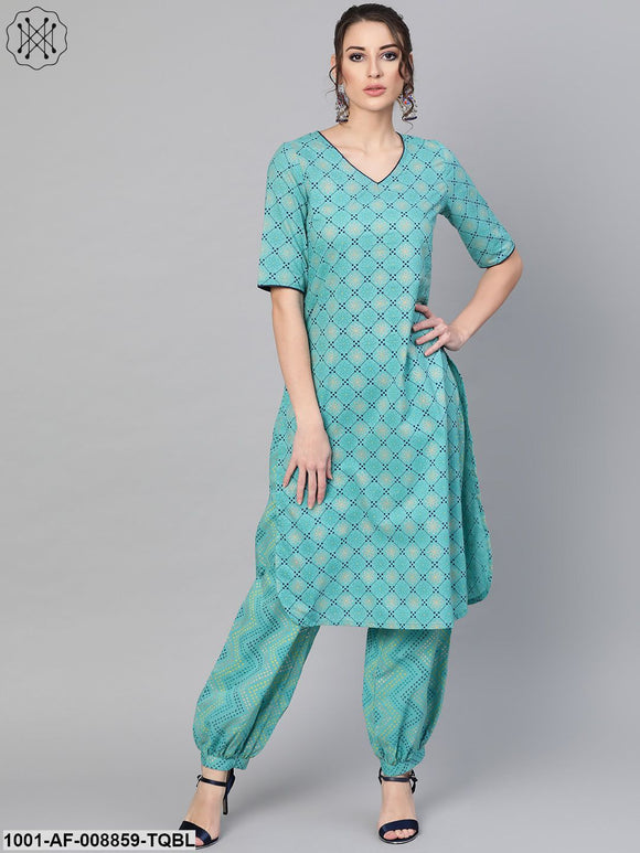 Turquoise Straight Kurta With Salwar