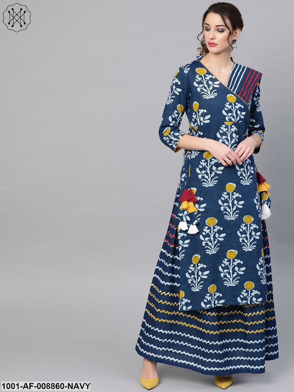 Indigo Kurta Skirt And Dupatta Set