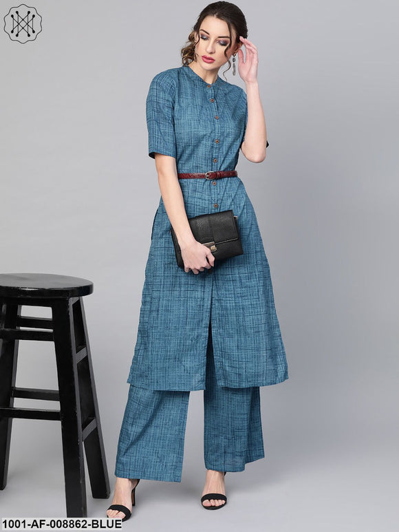 Blue Straight Kurta With Palazzo