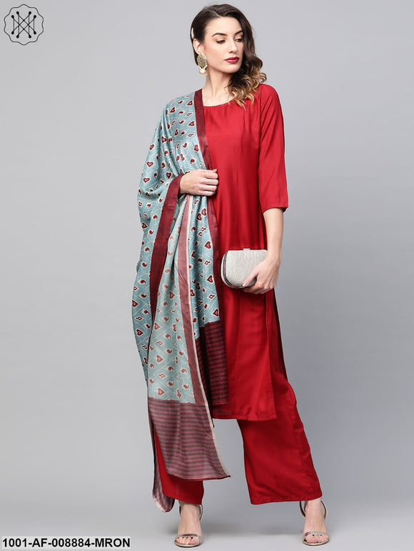 Maroon Solid Kurta Set With Digital Printed Dupatta