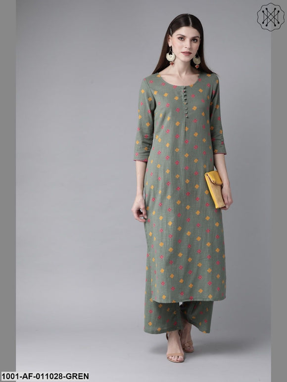 Green Printed Kurta With Palazzo