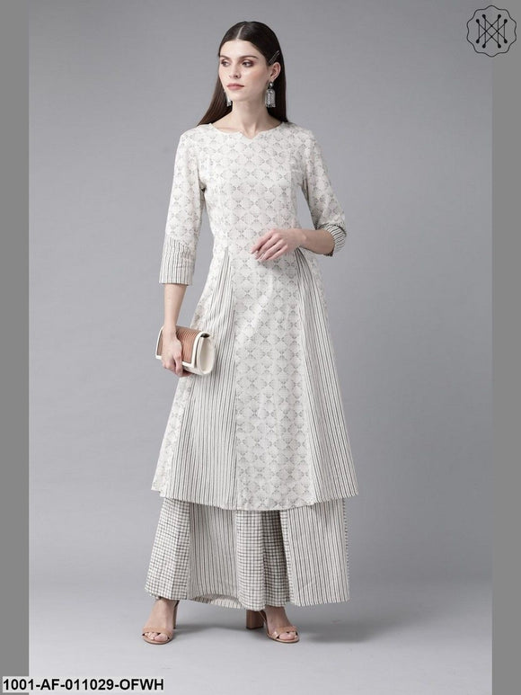 Off White Printed A-Line Kurta With Palazzo