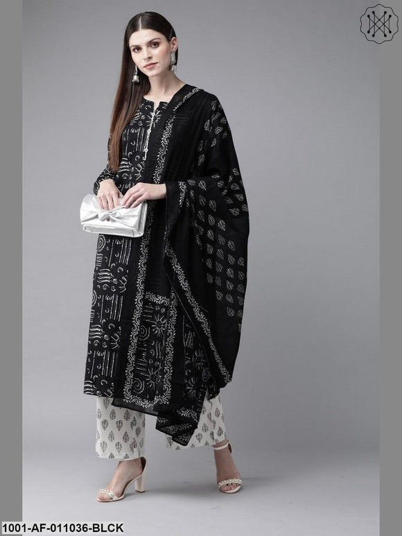Black And White Palazzo Set With Dupatta