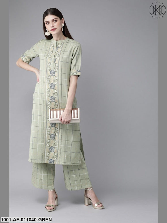 Mint Checked Kurta With Palazzo