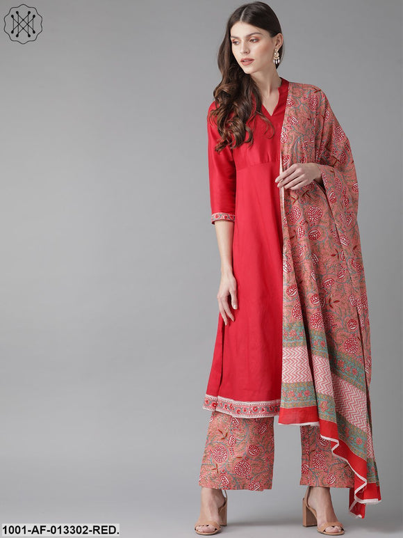 Red Printed Kurta With Palazzo And Dupatta