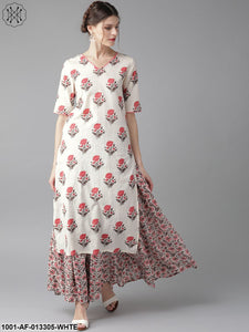 White Printed Kurta With Skirt And Dupatta