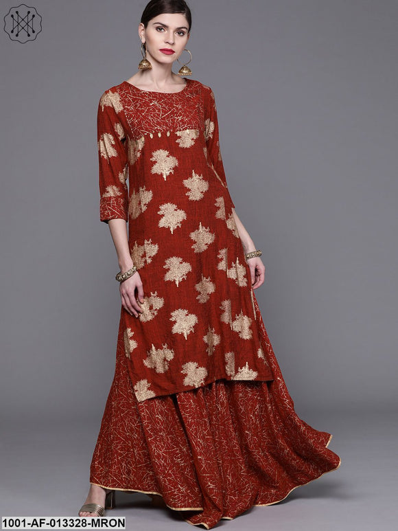 Red Printed Kurta With Skirt