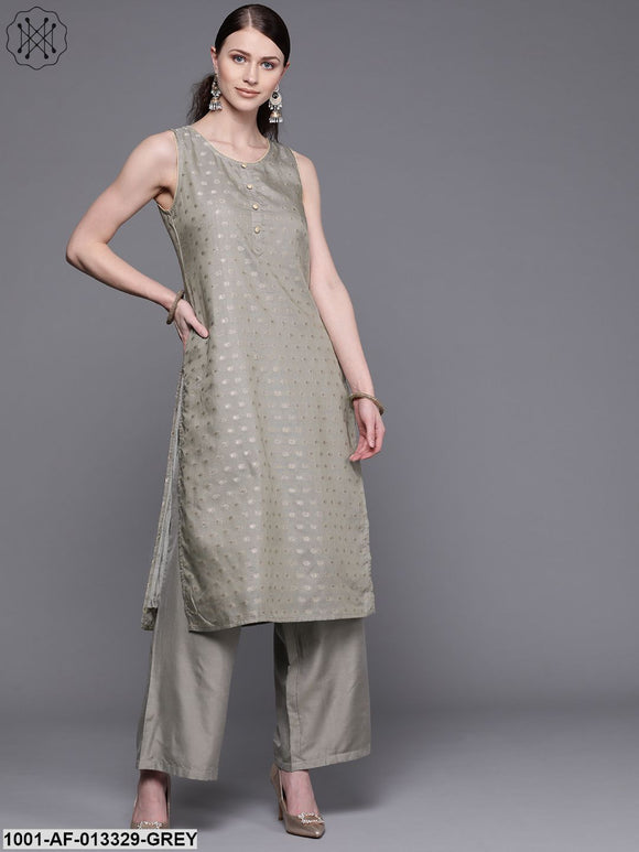 Grey Printed Kurta With Palazzo