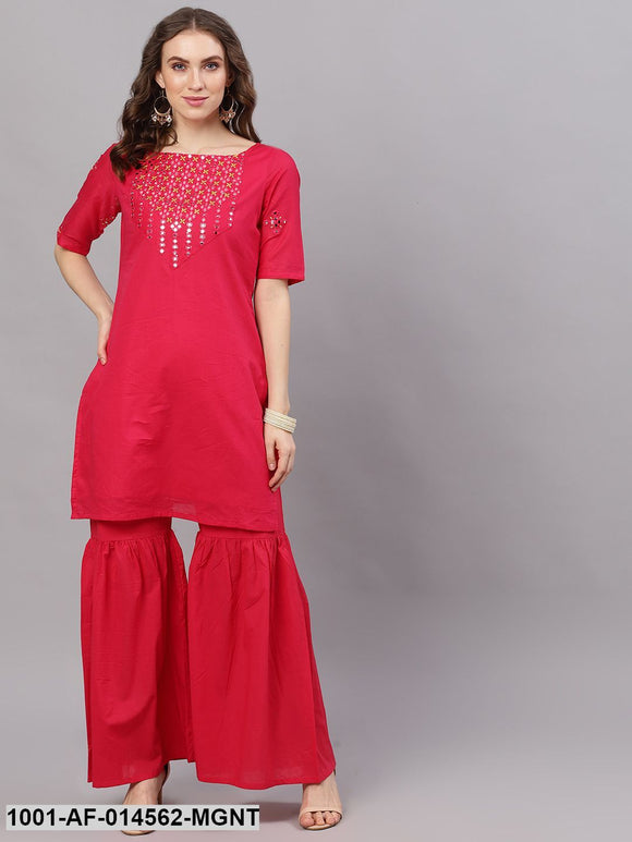 Magenta Mirror Work Straight Kurta With Solid Sharara