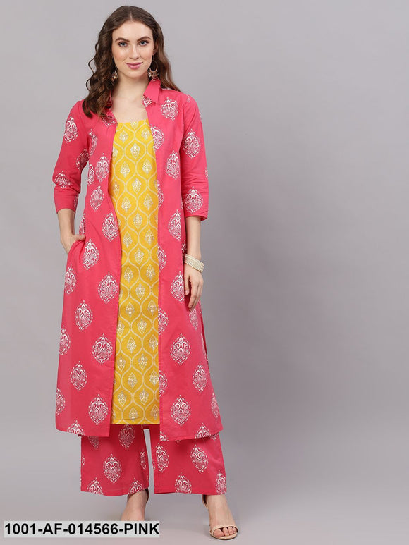 Pink & Yellow Khari Printed Kurta Palazzo With Jacket