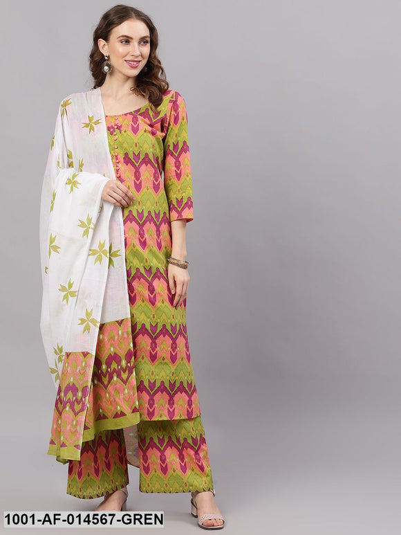 Green Ikat Print Kurta Palazzo Set With Dupatta