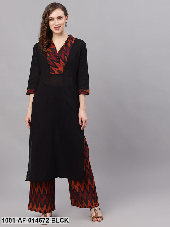 Black Ikat Print Kurta Set
