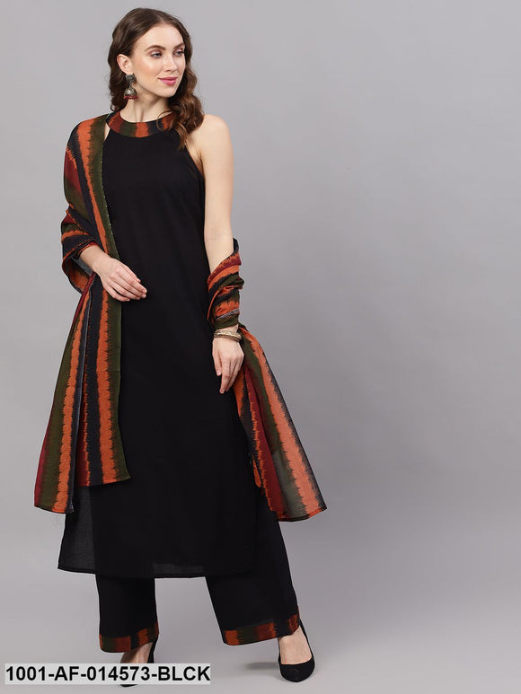 Black Ikat Print Kurta Set With Dupatta