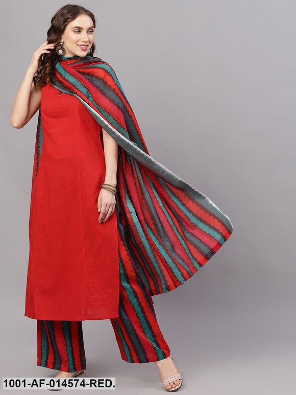 Red & Black Ikat Kurta Set With Dupatta