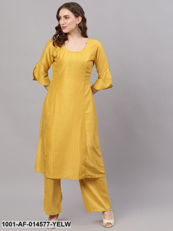Yellow Chinon Sequence Work A-Line Kurta With Palazzo