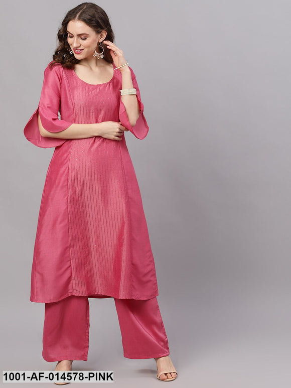 Pink Chinon Sequence Work A-Line Kurta With Palazzo