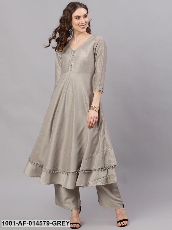 Grey Chinon Dobby Design Layered Kurta With Palazzo