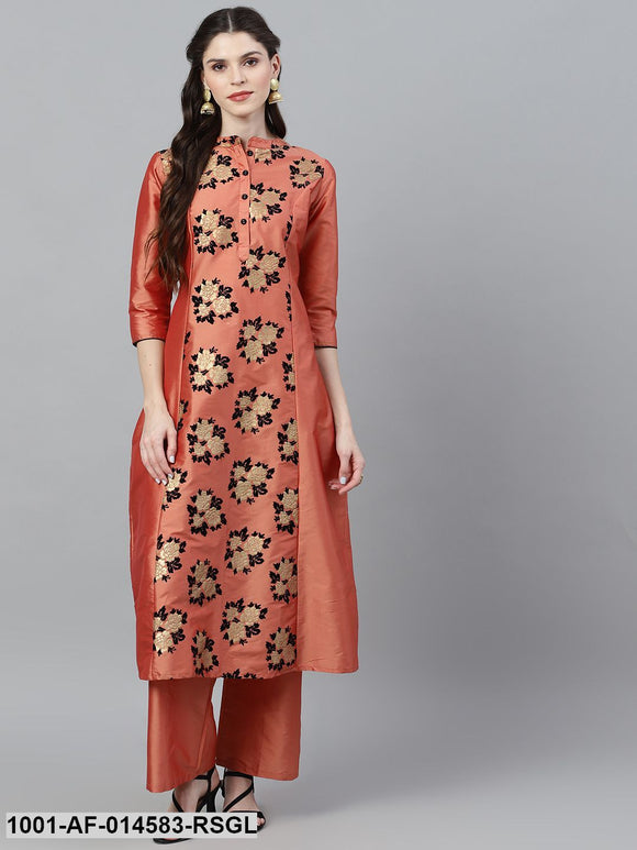 Rose Gold & Black Flock Design Kurta With Solid Palazzo