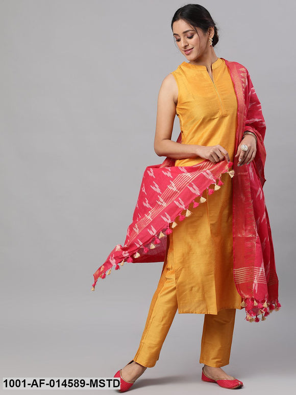 Mustard Solid Kurta Set With Ikat Woven Dupatta