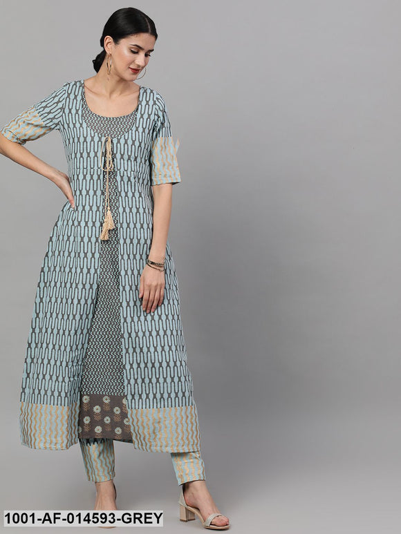 Grey & Blue Printed Layered Kurta Set
