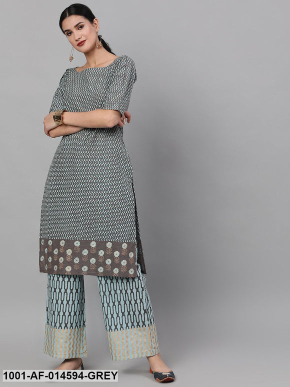 Grey & Blue Printed Layered Kurta With Palazzo Set