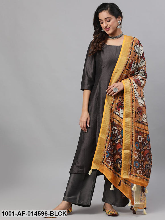 Black Chinon Dobby Design Kurta Set With Dupatta