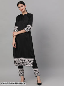 Black Digital Printed Kurta With Pant Set