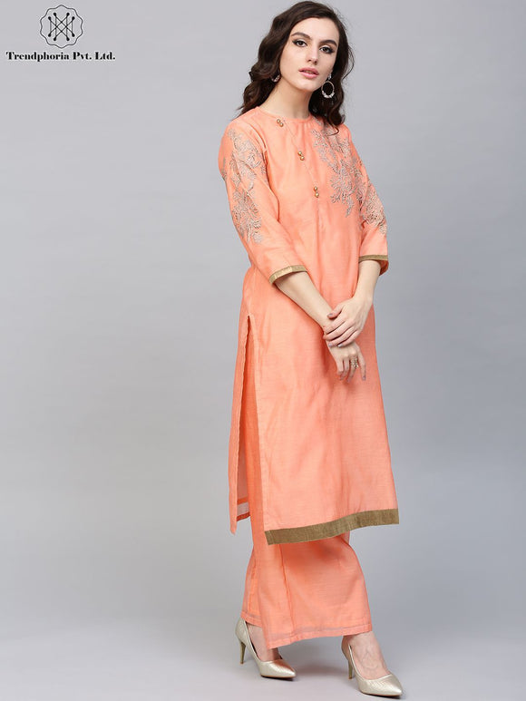 Peach Golden Embroidered Straight Kurta