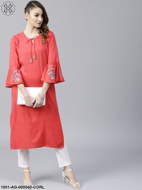 Coral Solid Straight Kurta With Embroidery Sleeve details