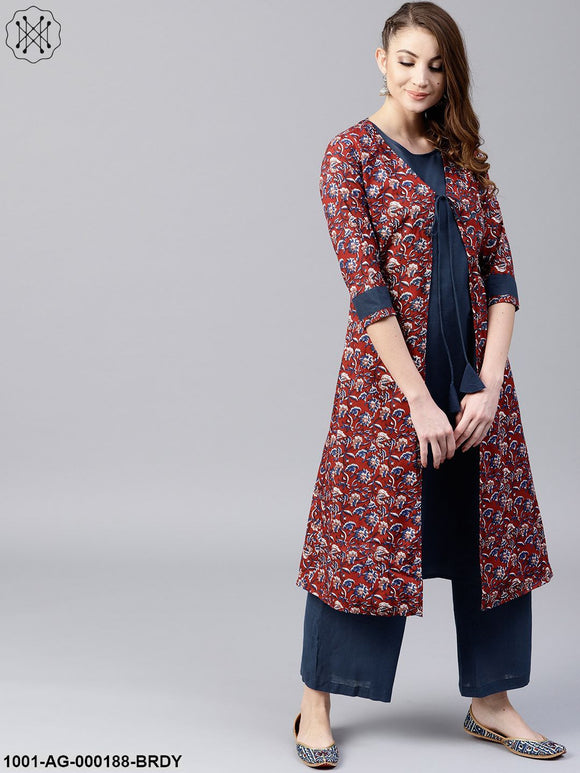 Burgundy & navy blue double layered A-Line Kurta