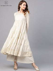Cream & Gold Printed Tiered Flared Anarkali