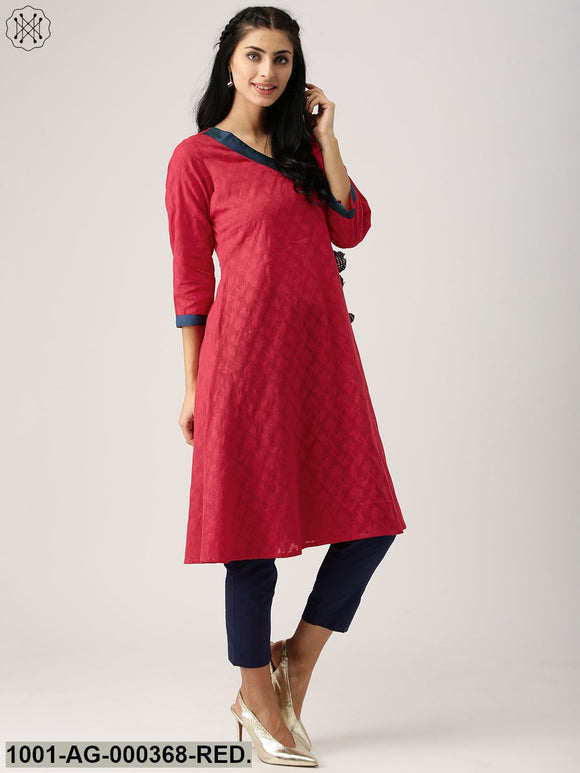 Red Jacquard Woven A-Line Kurta With Tassel Details