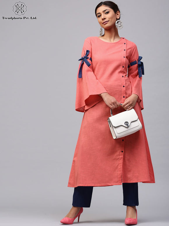 Peach Solid A-Line Kurta With Flared Sleeve
