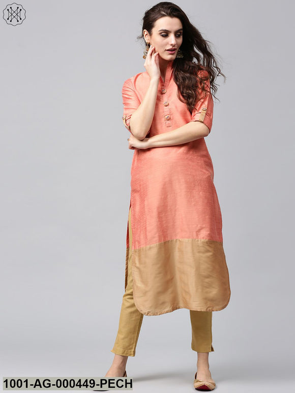 Peach & Beige Straight Kurta With Embroidered Button