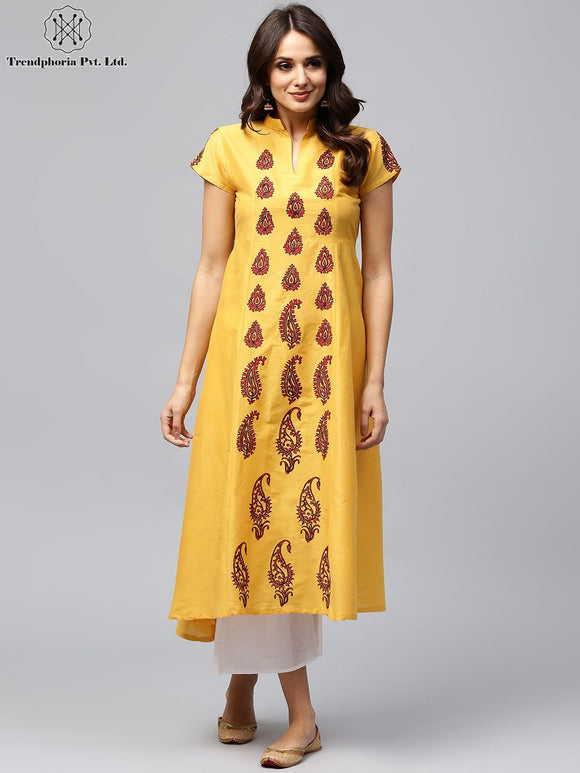 Yellow & Red Block Printed A-Line Kurta