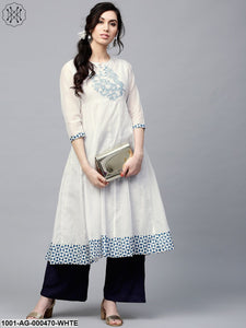 White Printed Anarkali With Embroidery At Yoke