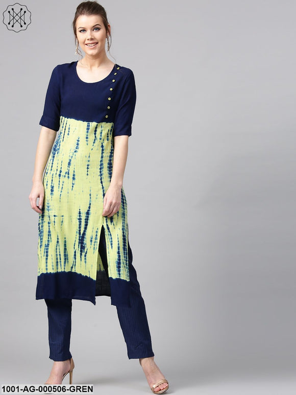 Green & Blue Print Tie & Dye Printed Straight Kurta