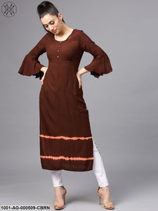 Coffee Brown Tie & Dye Print Straight Kurta