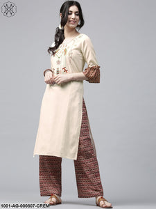 Cream Embroidered Straight Kurta With Ruffle Sleeve