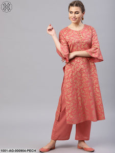 Peach Gold Printed Straight Kurta