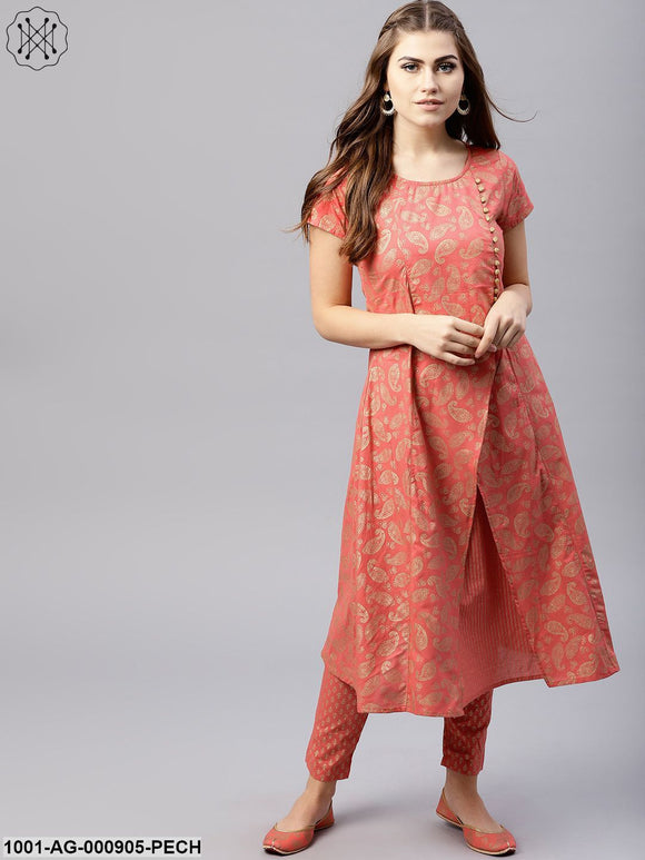 Peach Gold Printed Double Layered A-Line Kurta