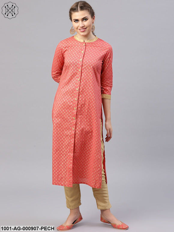 Peach Gold Printed Button Down Straight Kurta