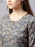 Grey Gold Printed Straight Kurta With Flare Sleeve