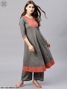Grey Gold Printed Anarkali With Peach Hemline Details