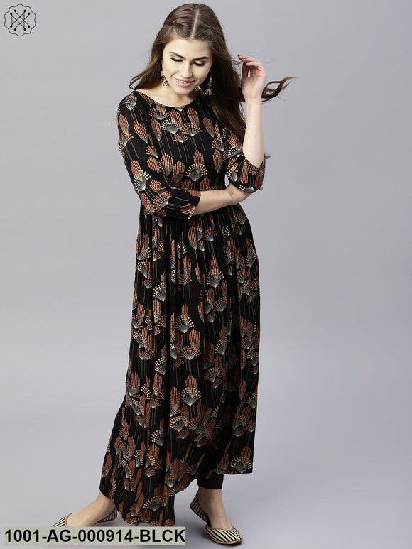 Black & Brown Printed Pleated Anarkali
