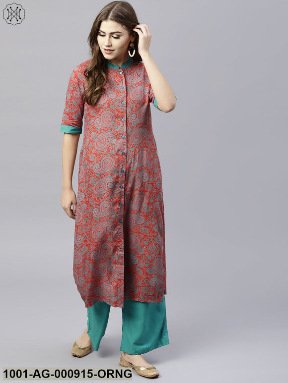 Orange & Blue Printed Button Down Straight Kurta